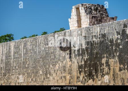 Detail of ball game court (juego de pelota) at Chichen Itza - Yucatan, Mexico - Stock Photo