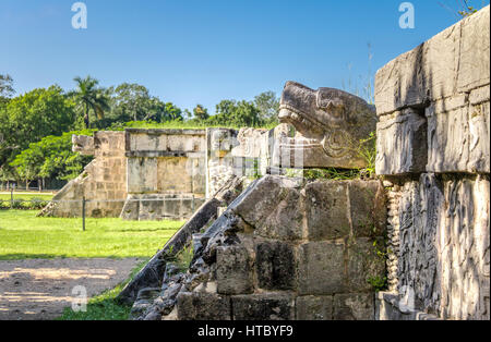Jaguar heads of the Venus Platform at Ancient Maya Ruins of Chichen Itza - Yucatan, Mexico - Stock Photo