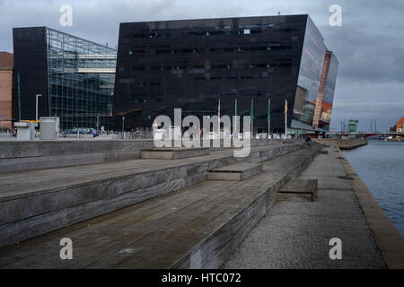 Elisabeth Toubro sculpture outside Royal Danish Library, 'The Black Diamond',Copemhagen, Denmark - Stock Photo