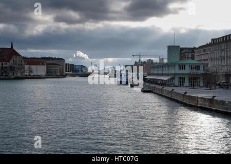 Copenhagen Harbour early evening, sun and clouds by the Claus Meyer's The Standard restaurant complex',  Copenhagen, - Stock Photo