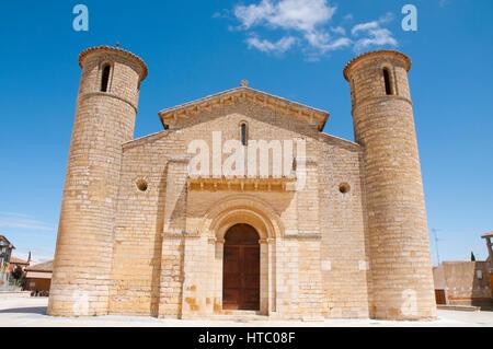 Facade of San Martin church. Fromista, Palencia province, Castilla Leon, Spain. - Stock Photo