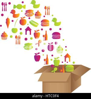 colorful pattern with food elements in carton box - Stock Photo