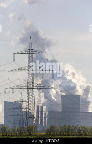Lignite-fire-station Neurath, RWE-Power Energy company brown coal power station, Grevenbroich, North Rhine-Westphalia, - Stock Photo