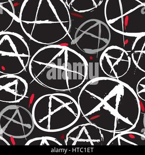 Anarchy symbol seamless pattern. Anarchy Icon Vector background. - Stock Photo