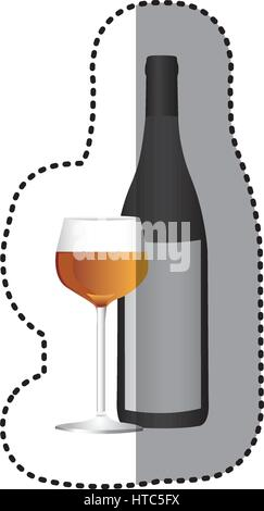 wine bottle with glass with wine icon - Stock Photo