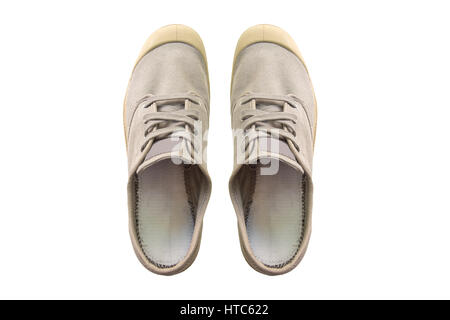 Vintage gray shoes isolated on white background. - Stock Photo