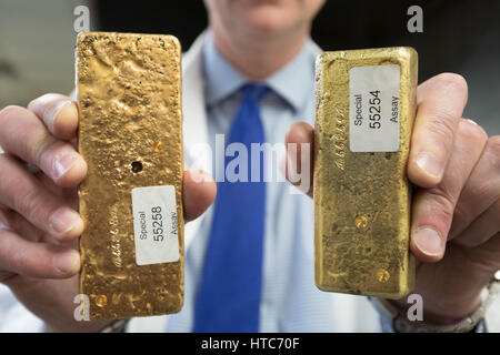A bar of pure gold melted together from scrap gold bits held by Chris Walne, Lab Manager, at The Goldsmiths' Company - Stock Photo