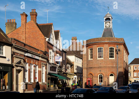 9 March 2017: The High Street in Reigate Surrey, featuring the old Town Hall and clock tower - Stock Photo