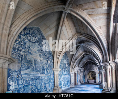 Cloister of Se Cathedral and Azulejos tiles, Port Portugal - Stock Photo