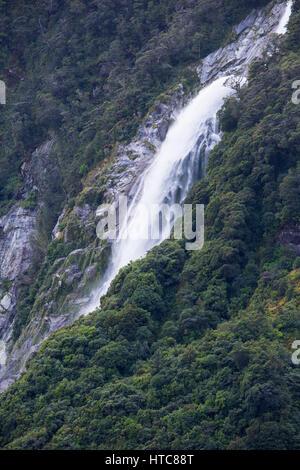 Milford Sound, Fiordland National Park, Southland, New Zealand. Lady Bowen Falls after heavy rain. - Stock Photo
