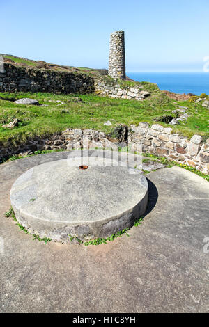 Porthmeor Tin stamps with its well-preserved buddle system of water wheel pits and circular ore washing sites - Stock Photo