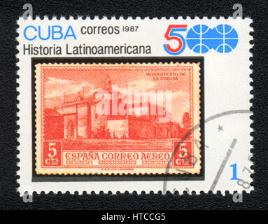 A postage stamp printed in Cuba shows image of History of Latin America - Franciscan monastery  , from series Historia - Stock Photo