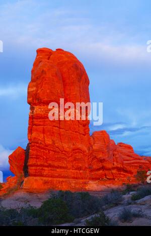 Off Balance Rock at sunset, Arches National Park, UT, USA - Stock Photo