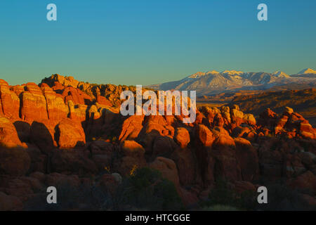 Fiery Furnace at sunset, Arches National Park, UT, USA - Stock Photo