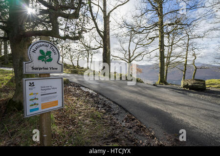 National Trust sign post at Surprise View viewpoint overlooking Derwentwater, Keswick, The Lake District, Cumbria, - Stock Photo