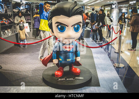 Superman Statue in Hong Kong for Batman v Superman: Dawn of Justice promotion 2016 - Stock Photo