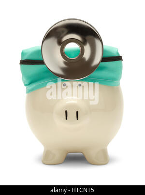 Piggy Bank Doctor with Hat and Reflector Isolated on White. - Stock Photo