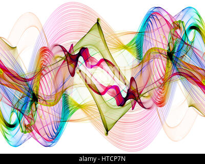 abstract colorful twisted net web waves - Stock Photo
