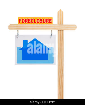 Real Estate Foreclosure Sign with House Under Water Isolated on White. - Stock Photo