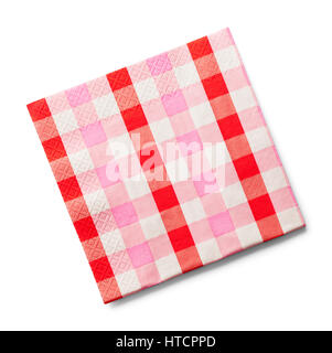 Pink Checkered Paper Napkin Isolated on White Background. - Stock Photo