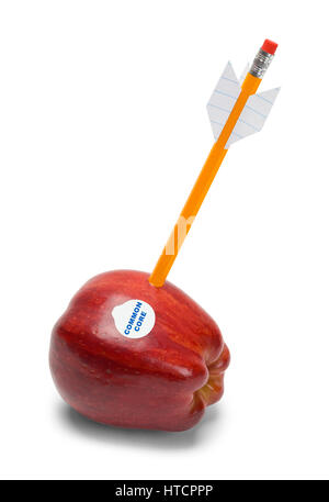 Common Core Apple Shot by Pencil Arrow Isolated on White. - Stock Photo