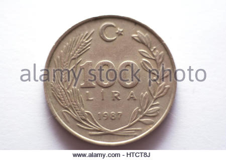 old turkish coin photography on isolated white background - Stock Photo