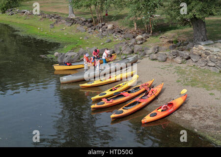 Canoeing and kayaking on the Concord River at North Bridge, Concord, MA, USA. - Stock Photo