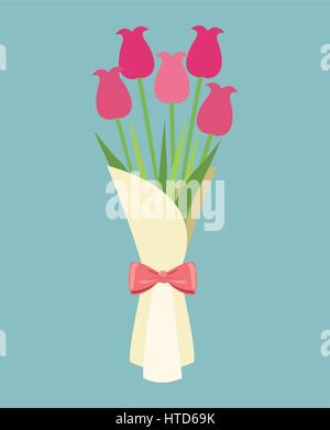 cute bouquet flowers roses-mother day - Stock Photo