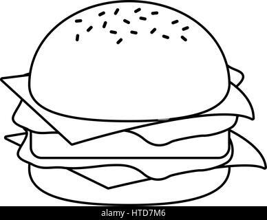 burger fast food thin line - Stock Photo