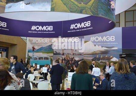 Berlin, Germany. 9th March 2017. ITB 2017 international travel trade show underway in Berlin, Germany. UK booth. - Stock Photo