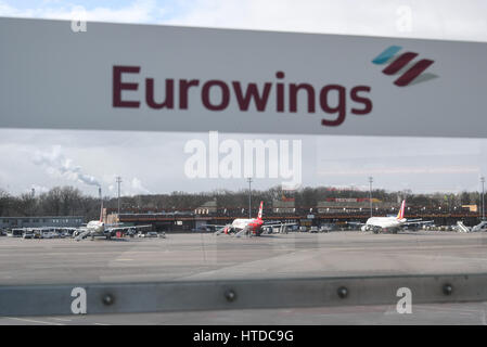 Berlin, Germany. 10th Mar, 2017. Aircrafts park at Tegel airport in Berlin, capital of Germany, on March 10, 2017. - Stock Photo