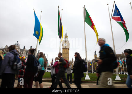 Parliament Square. London, UK. 10th Mar, 2017. Flags of the Commonwealth in Parliament Square for the Commonwealth - Stock Photo