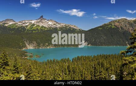 Panoramic View of Garibaldi Lake and Black Tusk from Hiking Trail in Coast Mountains of British Columbia, Canada - Stock Photo