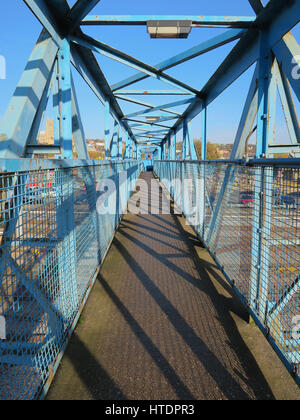 Cast Iron foot bridge over Lincoln railway station - Stock Photo