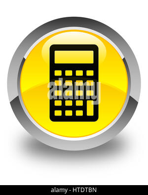 Calculator icon isolated on glossy yellow round button abstract illustration - Stock Photo