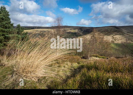 Beautiful view from Shire Hill near Glossop. Early spring landscape on the edge of the Pennines in Northern England. - Stock Photo