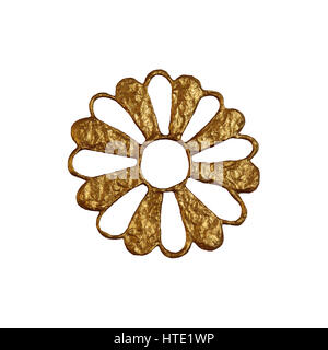 Gold abstract flower illustration. Hand painted floral element on white background. - Stock Photo
