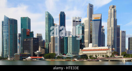 Singapore, Central Business District, skyline, Fullerton Hotel, - Stock Photo