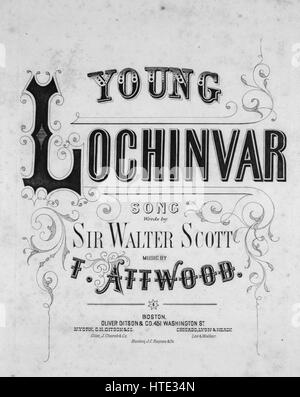 Sheet music cover image of the song 'Young Lochinvar Song', with original authorship notes reading 'Music by T Attwood - Stock Photo