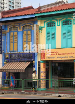 Singapore, Little India, Serangoon Road, street scene, shops, - Stock Photo