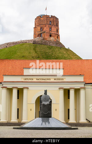 Monument to King Mindaugas of Lithuania in front of the National Museum. Vilnius. Lithuania - Stock Photo