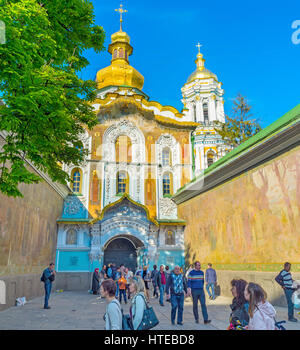 KIEV, UKRAINE - MAY 01, 2016: The Gate Church of the Trinity is located atop of the main entrance to the Kiev Pechersk - Stock Photo