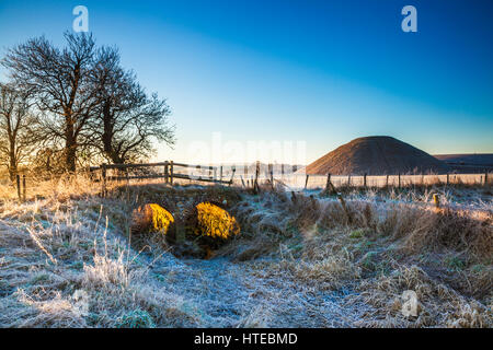 A frosty morning at Silbury Hill in Wiltshire. - Stock Photo