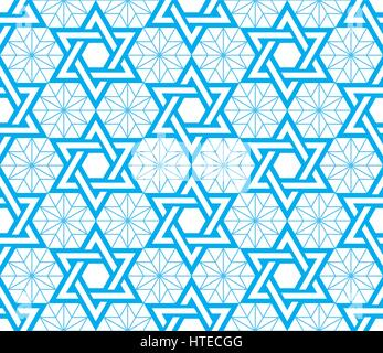 Jewish, Star of David blue seamless pattern - Stock Photo