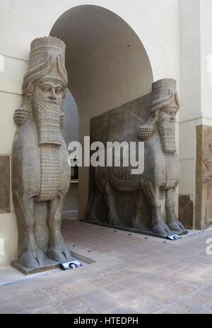 Lamassu from the Palace of Sargon II. Monumental entrance. Assyrians. 721-705 BC. Khorsabad Palace. (Dur Sharrukin, - Stock Photo