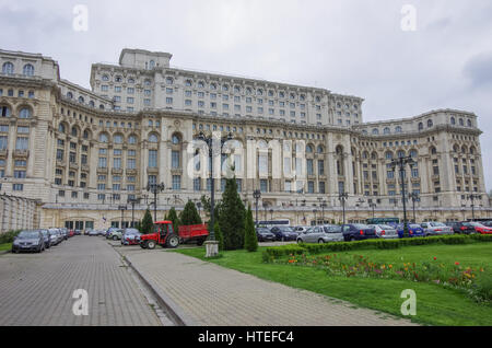 Palace Of The Parliament, Bucharest capital city of Romania - Stock Photo