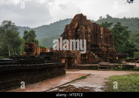 Remains of Hindu tower-temples at My Son Sanctuary, a UNESCO World Heritage site in Vietnam - Stock Photo