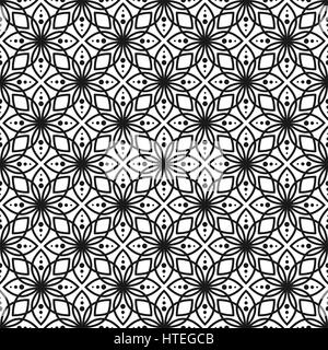 Black and white seamless floral vector pattern. - Stock Photo