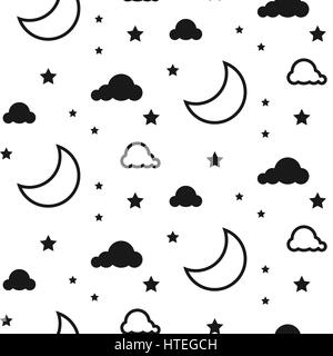 Moon and clouds seamless vector pattern. - Stock Photo