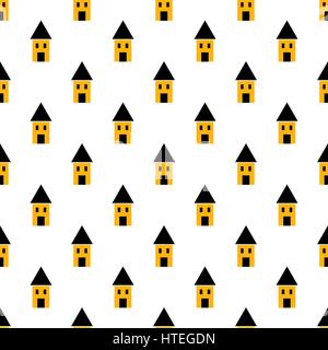 Simple yellow and black houses seamless pattern. - Stock Photo